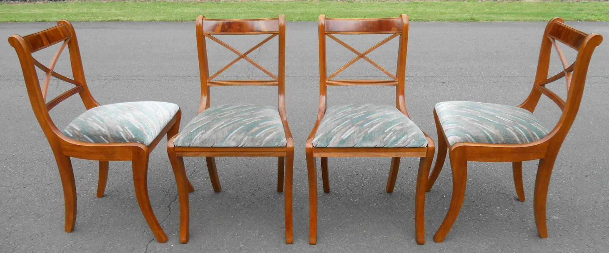 Set Of Four Sabre Leg Yew Dining Chairs